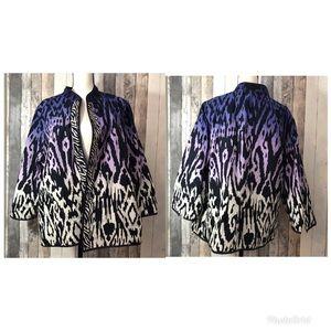 Chicos Purple Animal Print Jacket sz 4/ xxl